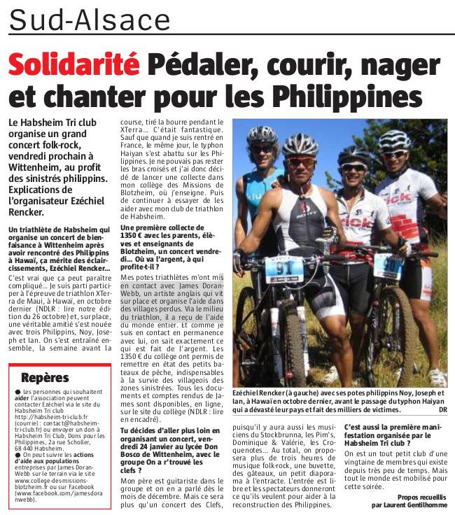 Journal l'Alsace - samedi 18/01/2014
